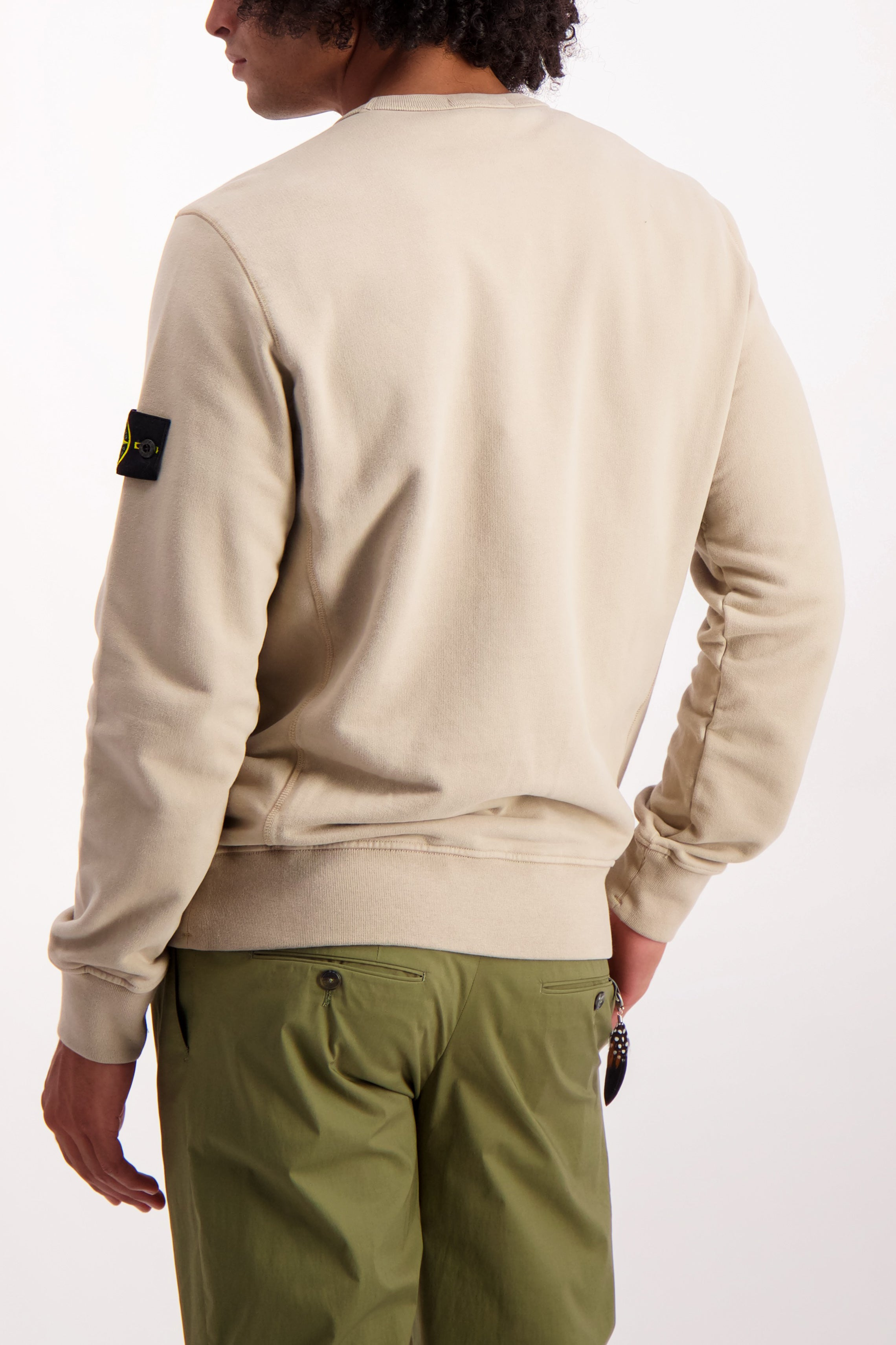 Back Crop Image Of Model Wearing Stone Island Brushed Cotton Crewneck with Chest Pocket Sand