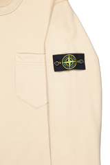 Logo patch detail image of Stone Island Brushed Cotton Crewneck with Chest Pocket Sand