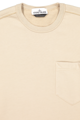 Neckline detail image of Stone Island Brushed Cotton Crewneck with Chest Pocket Sand
