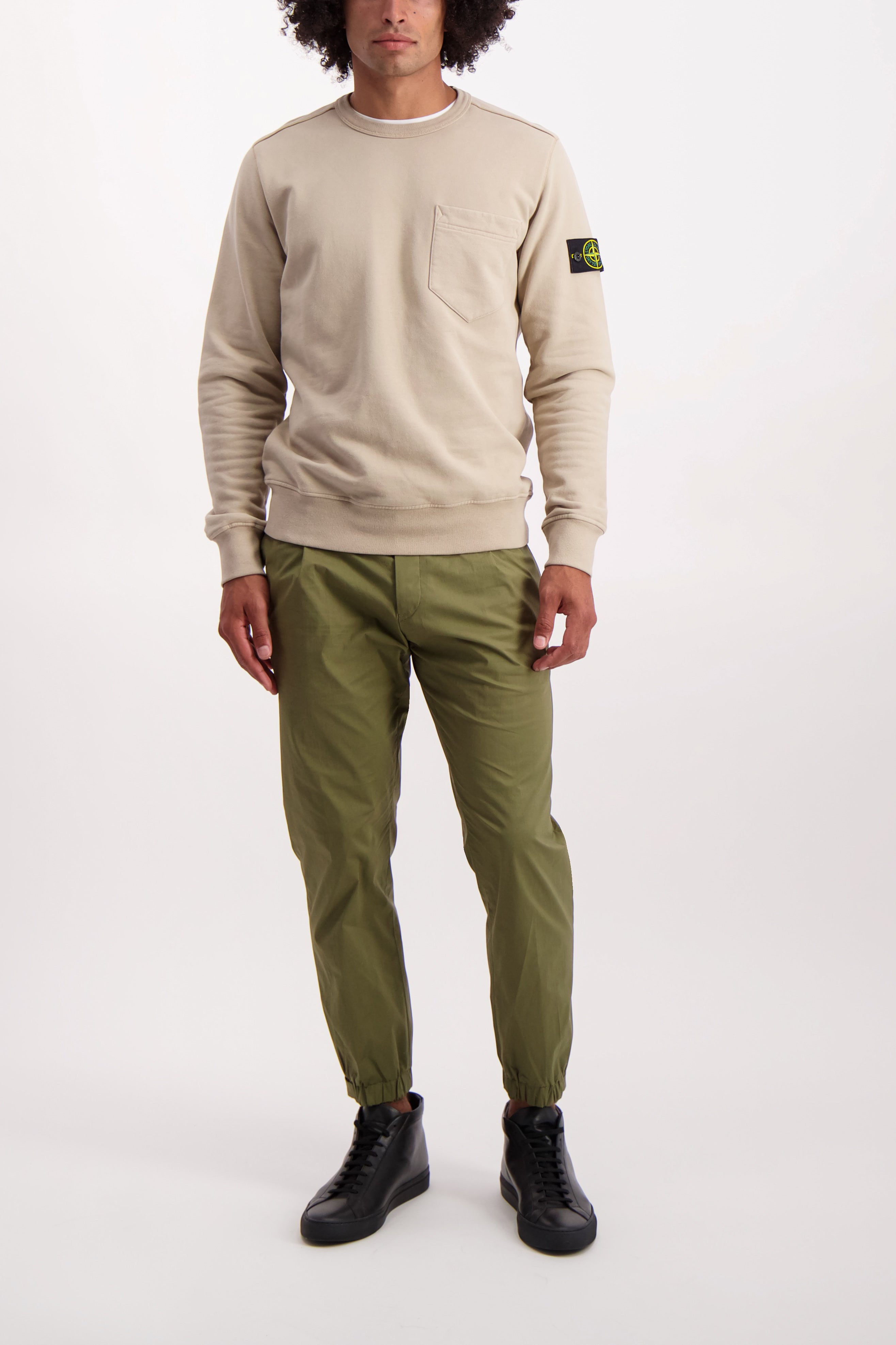 Full Body Image Of Model Wearing Stone Island Brushed Cotton Crewneck with Chest Pocket Sand
