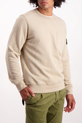 Front Crop Image Of Model Wearing Stone Island Brushed Cotton Crewneck with Chest Pocket Sand