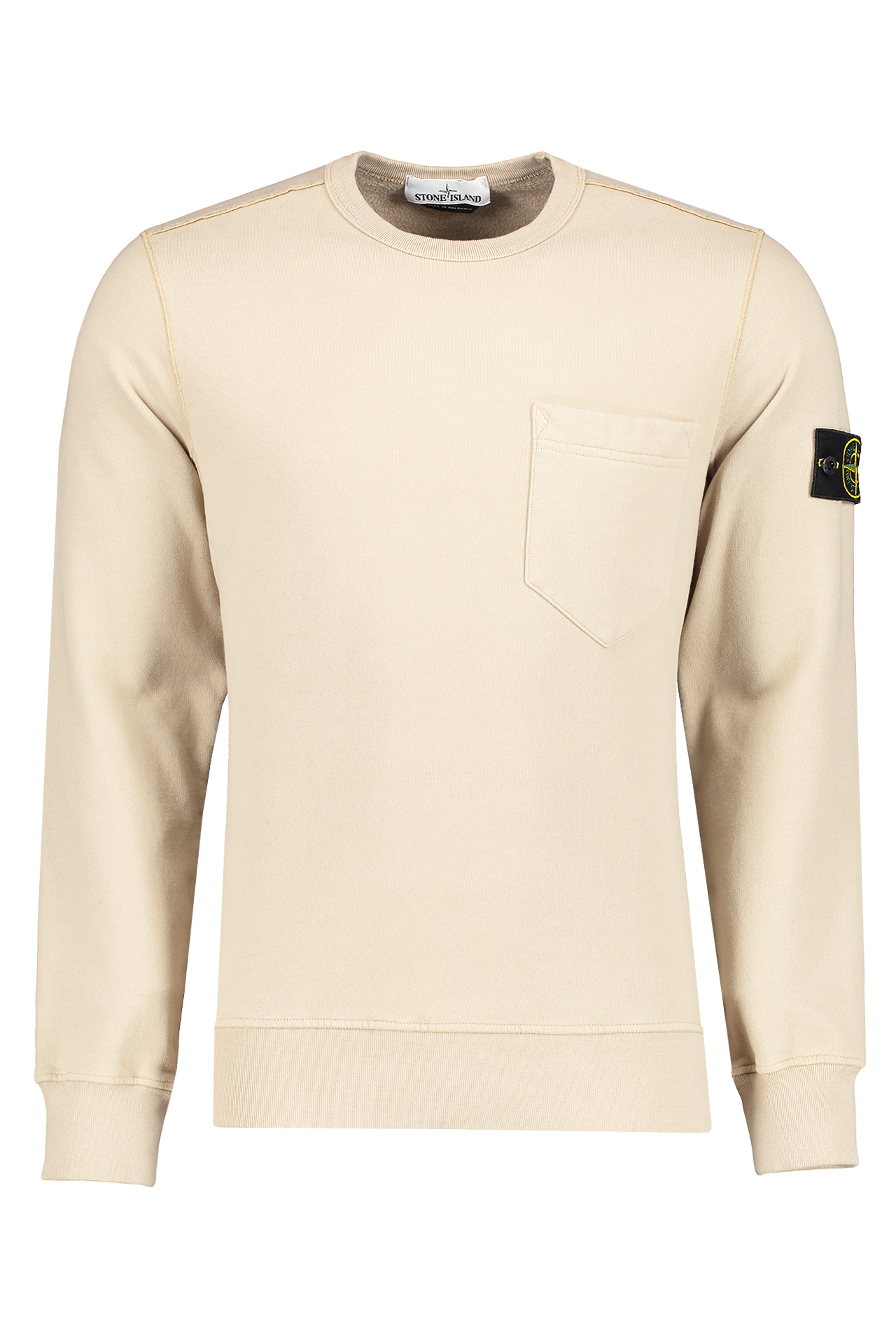 Front image of Stone Island Brushed Cotton Crewneck with Chest Pocket Sand