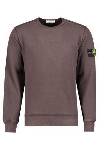 Front image of Stone Island Brushed Cotton Fleece Crewneck Dark Brown