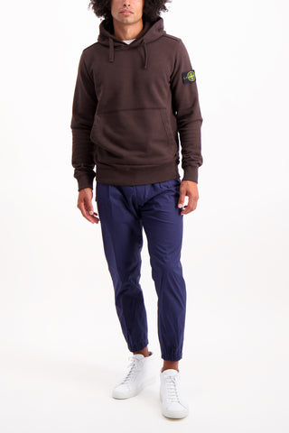 Full Body Image of Model Wearing Stone Island Brushed Cotton Fleece Hoodie