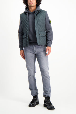 Full Body image Of Model Wearing image of Stone Island Men's Cotton Fleece Hoodie Fumo Melange