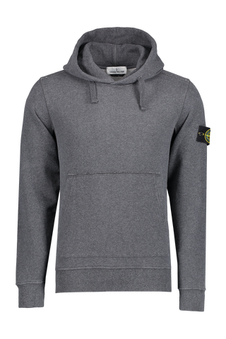 Front view image of Stone Island Men's Cotton Fleece Hoodie Fumo Melange