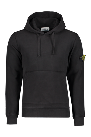 Front image of Stone Island Brushed Cotton Fleece Hoodie Black