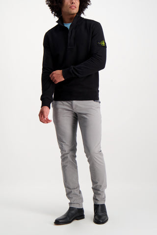 Full Body Image Of Model Wearing Stone Island Cotton Garment Dyed Quarter Zip Black