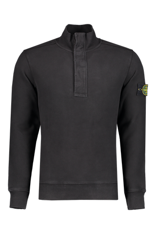 Front view image of Stone Island Cotton Garment Dyed Quarter Zip Black