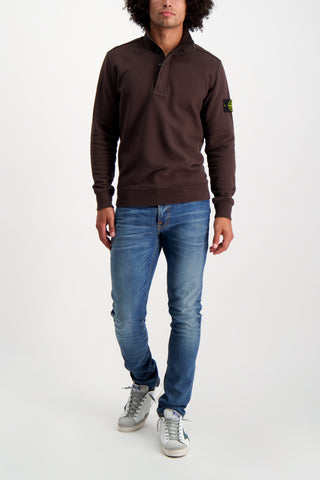Full Body Image Of Model Wearing Stone Island Cotton Garment Dyed Quarter Zip Dark Brown