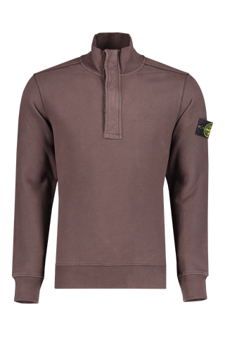 Front image of Stone Island Cotton Garment Dyed Quarter Zip Dark Brown