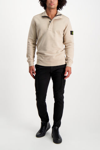 Full Body Image Of Model Wearing Stone Island Brushed Cotton Garment Dyed Quarter Zip Sand