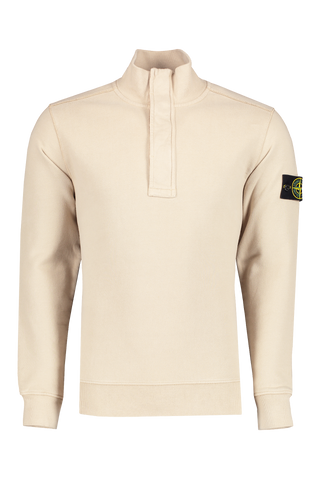 Front image of Stone Island Brushed Cotton Garment Dyed Quarter Zip Sand