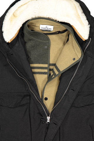 Front collar and zipper detail image of Stone Island Coat Detachable Interior Black