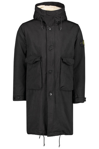 Front view image of Stone Island Coat Detachable Interior Black