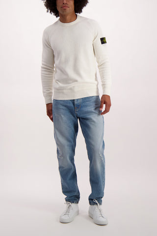 Full Body Image of Stone Island Comfort Wool/Cotton Crewneck Natural