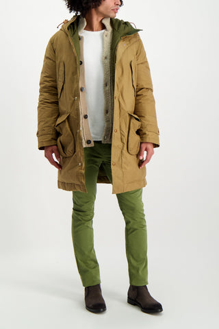Full Body Image Of Model Wearing Stone Island Men's Cotton-Nylon Terry Effect Cardigan