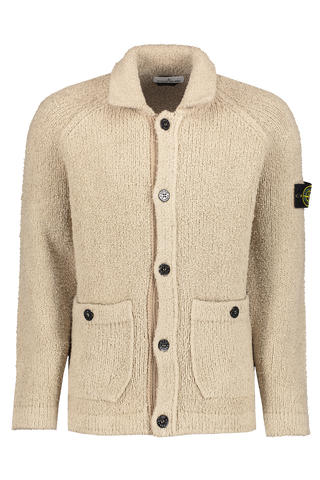 Front view image of Stone Island Men's Cotton-Nylon Terry Effect Cardigan