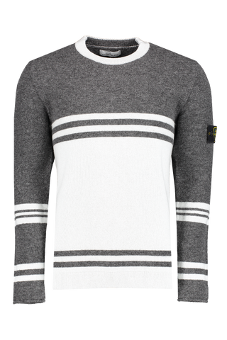 Front View of Stone Island Crewneck Sweatshirt with grey and white stripe details