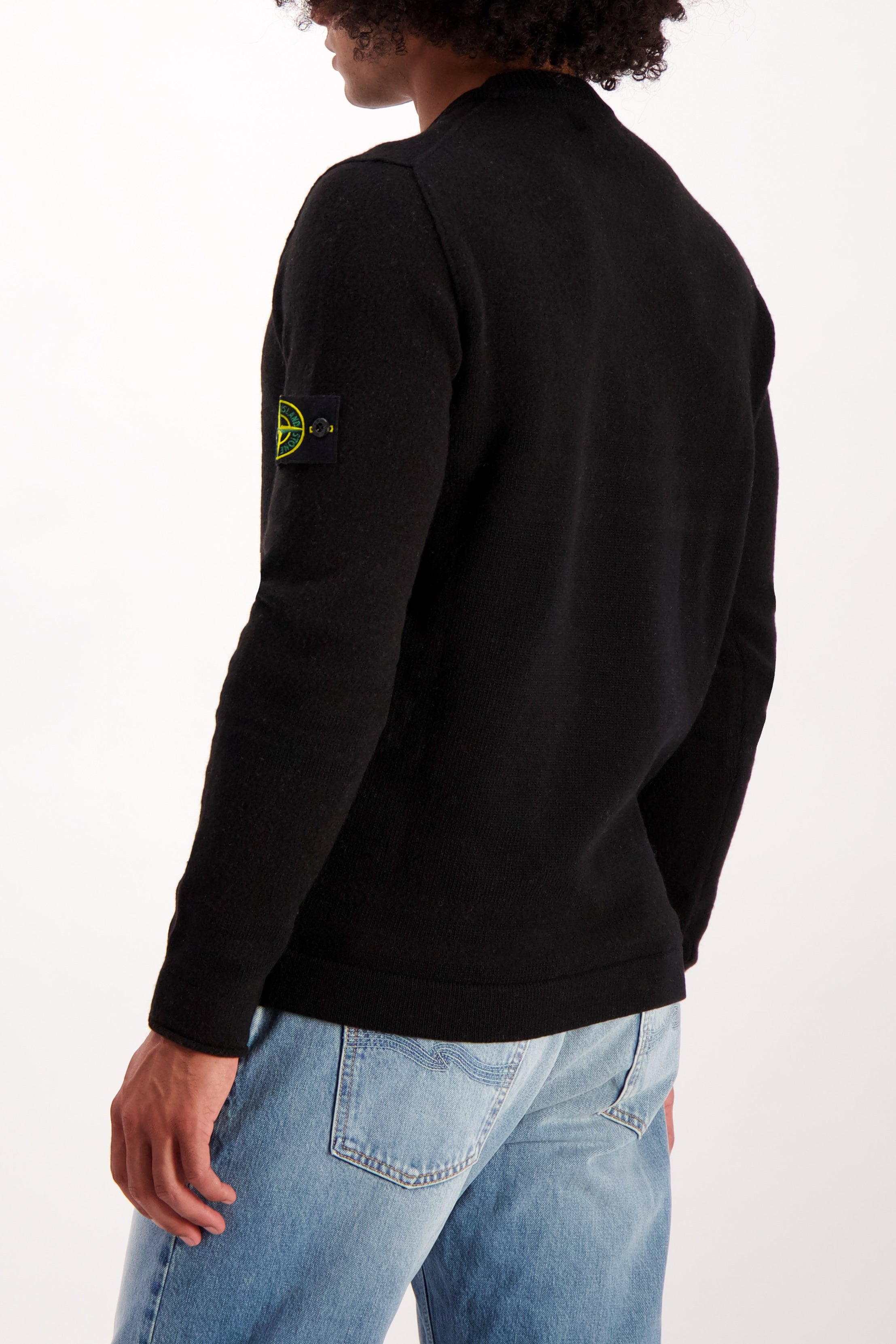 Back Crop Image Of Model Wearing Stone Island Crewneck sweatshirt Black