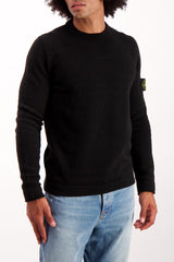 Front Crop Image Of Model Wearing Stone Island Crewneck sweatshirt Black