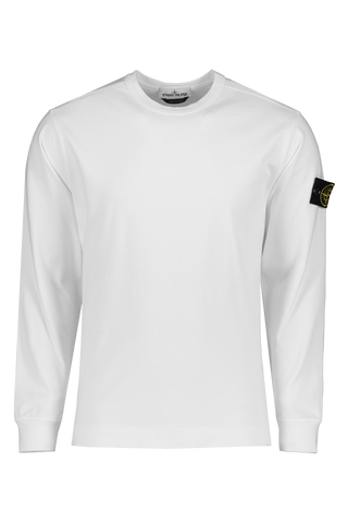 Front Image of Stone Island Fleece Crewneck Sweatshirt White
