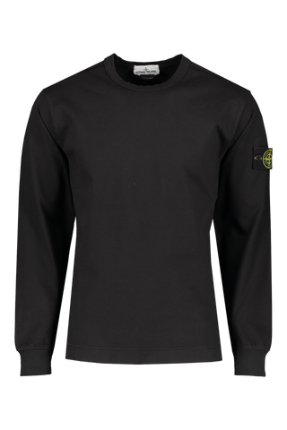Front Image of Stone Island Fleece Crewneck Sweatshirt Black