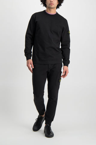 Full Body Image of Model Wearing Stone Island Fleece Crewneck Sweatshirt Black