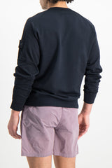 Back Crop Image Of Model Wearing Stone Island Fleece Crewneck Sweatshirt Navy Blue