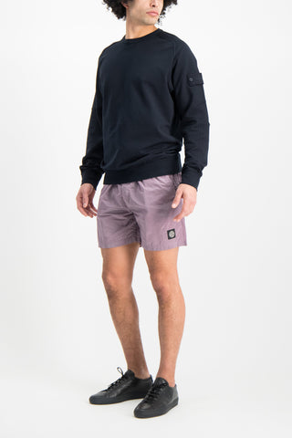 Full Body Image Of Model Wearing Stone Island Fleece Crewneck Sweatshirt Navy Blue