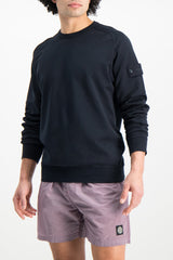 Front Crop Image Of Model Wearing Stone Island Fleece Crewneck Sweatshirt Navy Blue
