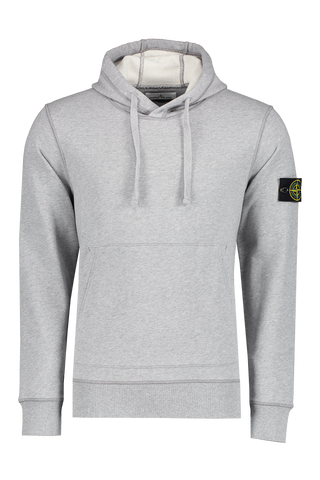 Front view image of Stone Island Hooded Fleece Melange Grey