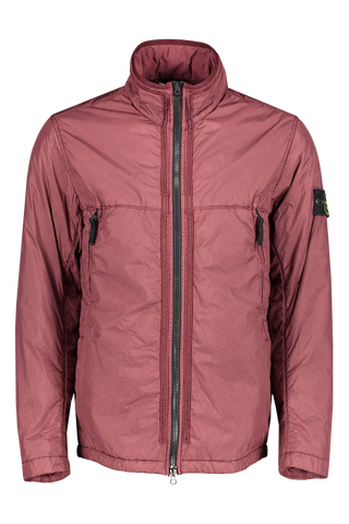 Front View of Stone Island full zip coat in burgundy
