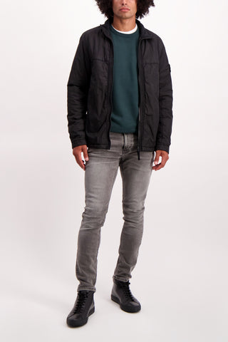 Full Body Image Of Model Wearing Stone Island Full Zip Outerwear