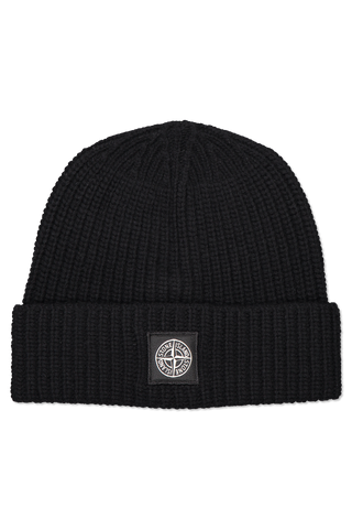 Front image of Stone Island Geelong Wool Beanie Black