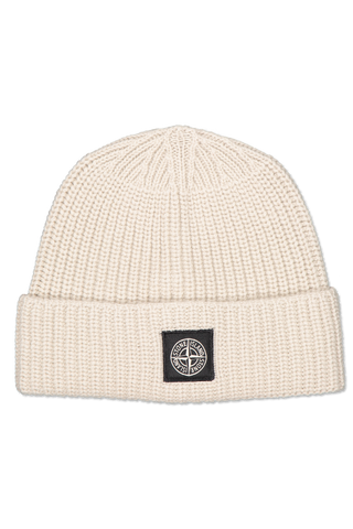 Front image of Stone Island Geelong Wool Beanie Ecru