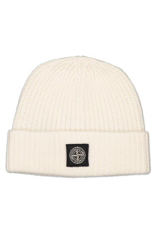 Front image of Stone Island Geelong Wool Beanie Natural