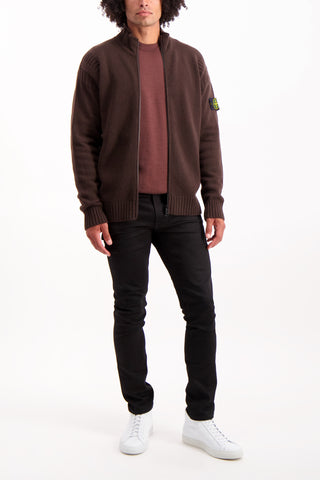 Full Body Image Of Model Wearing Stone Island Geelong Wool Full Zip Knit