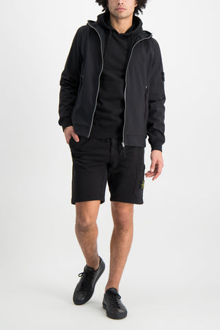 Full Body Image Of Model Wearing Stone Island Hooded Sweatshirt Black