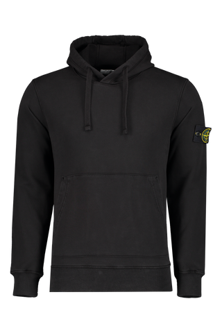 Front Image of Stone Island Hooded Sweatshirt Black