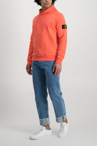 Full Body Image Of Model Wearing Stone Island Hooded Sweatshirt Orange Red