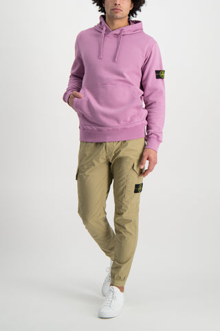 Full Body Image Of Model Wearing Stone Island Hooded Sweatshirt Rose Quartz