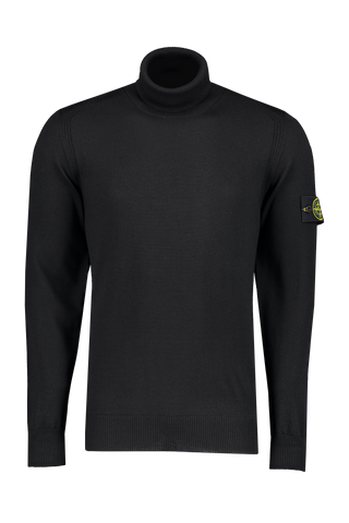 Front image of Stone Island Light Wool Turtleneck Black