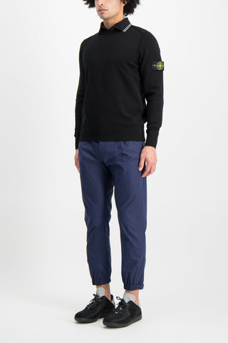 Full Body Image Of Model Wearing Stone Island Long Sleeve Knit Black