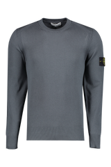 Front Image of Stone Island Long Sleeve Knit Blue Grey