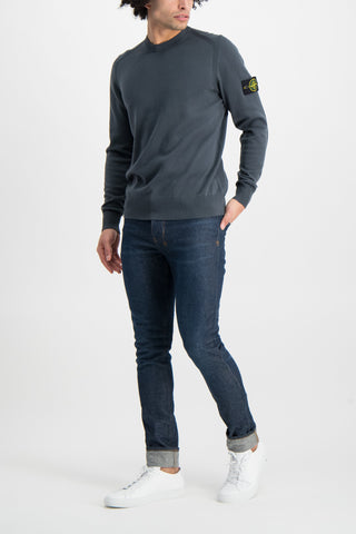 Full Body Image Of Model Wearing Stone Island Long Sleeve Knit Blue Grey