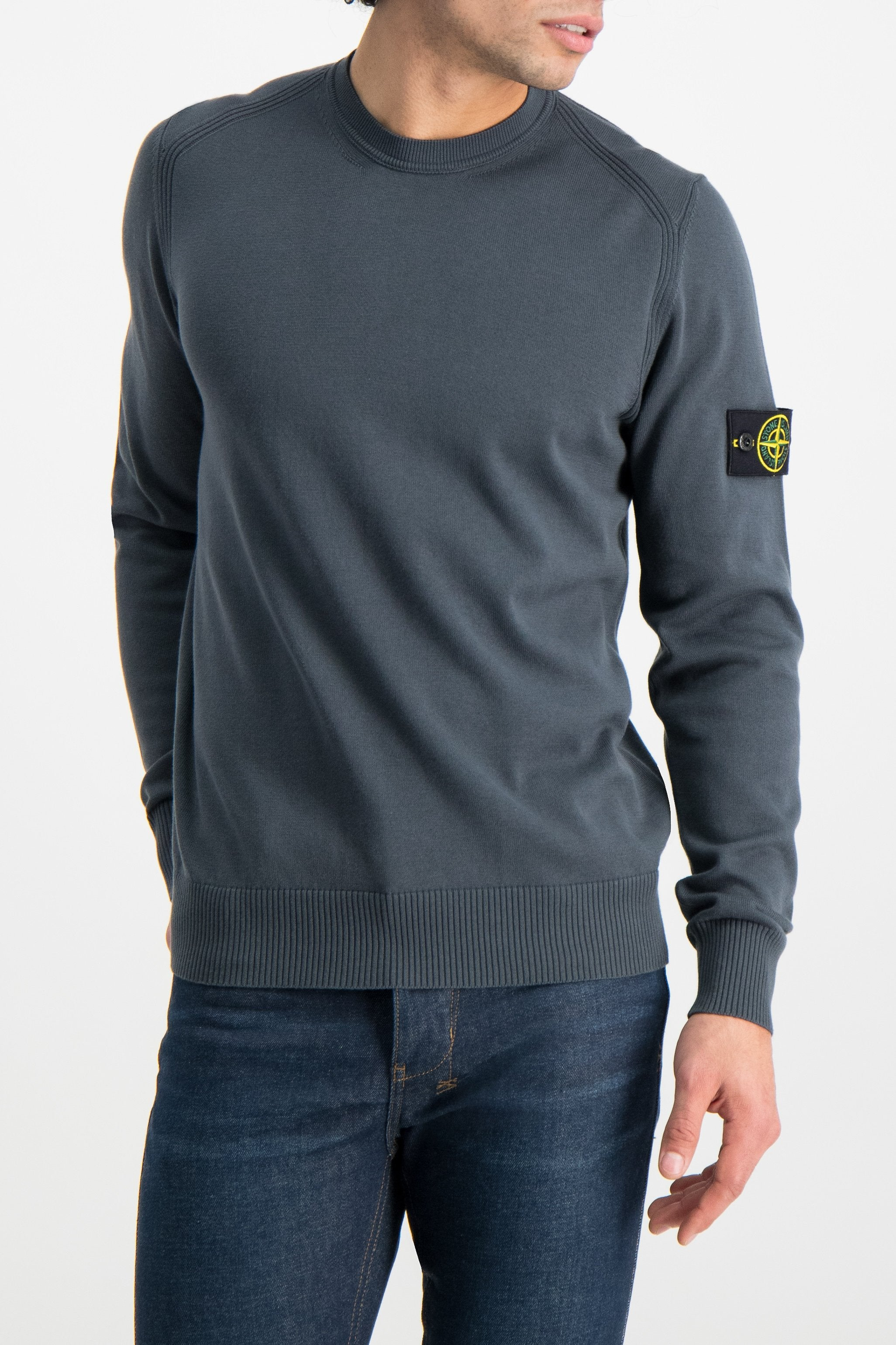 Front Crop Image Of Model Wearing Stone Island Long Sleeve Knit Blue Grey