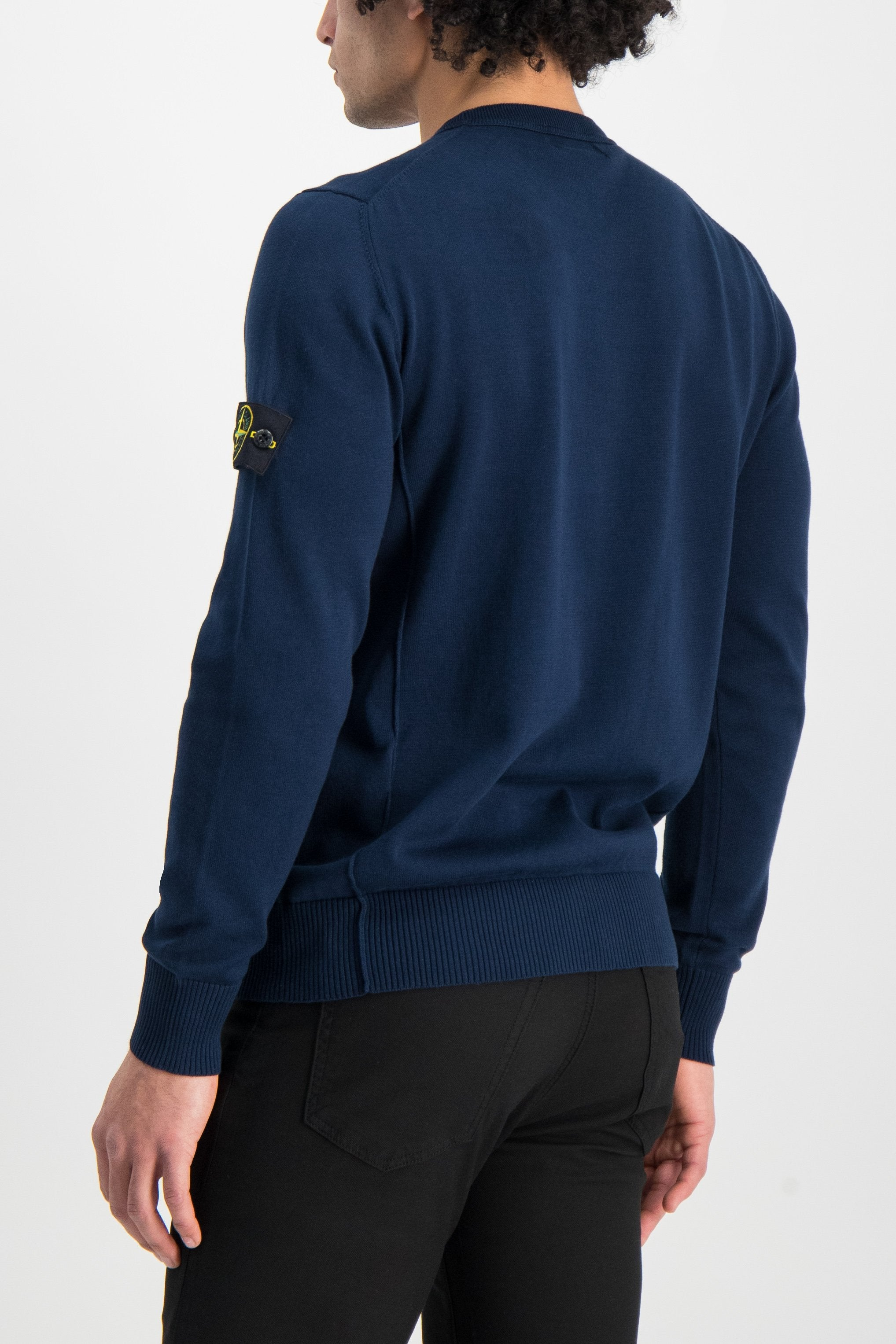 Back Crop Image Of Model Wearing Stone Island Long Sleeve Knit Blue Marine