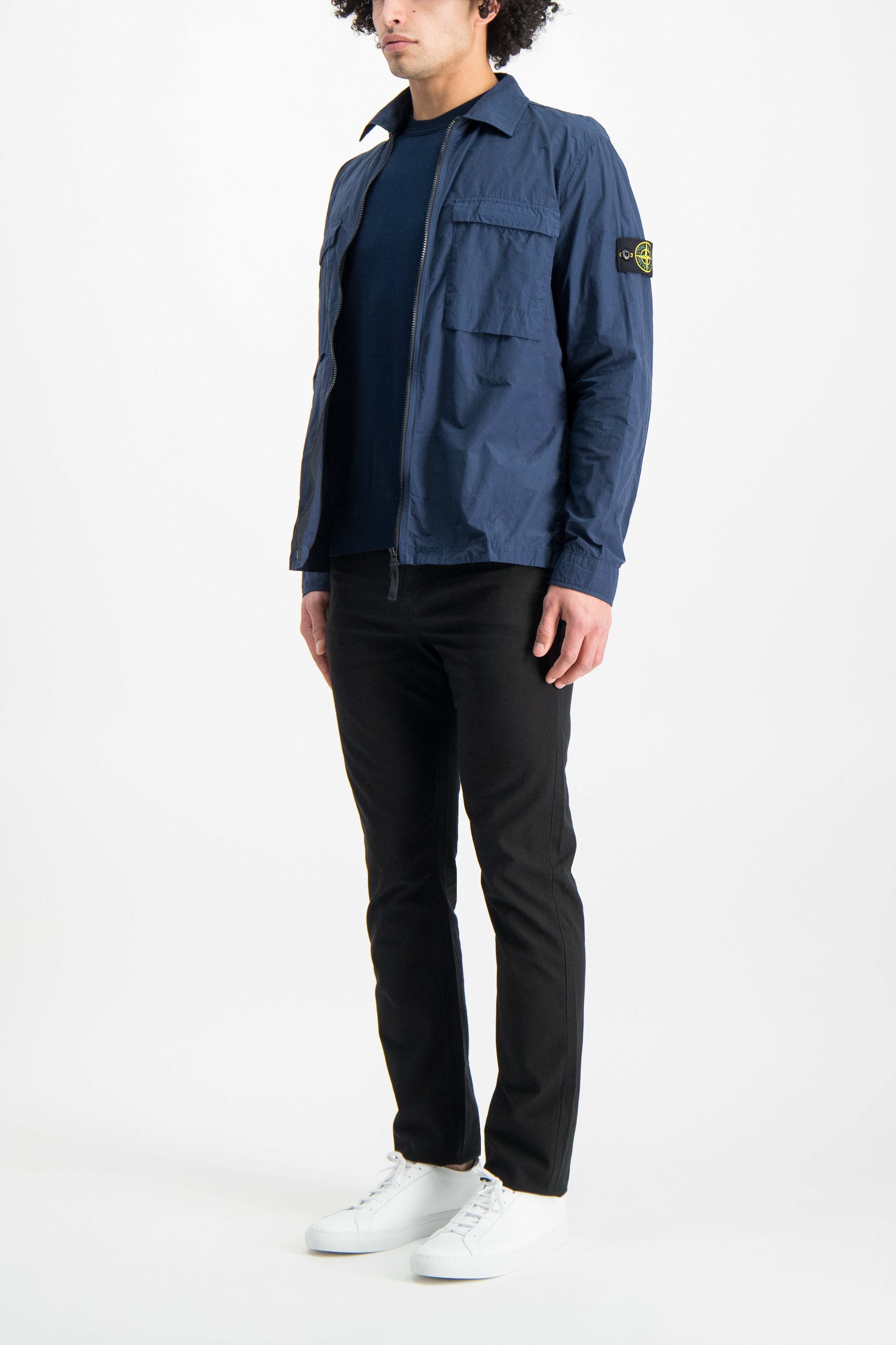 Full Body Image Of Model Wearing Stone Island Long Sleeve Knit Blue Marine