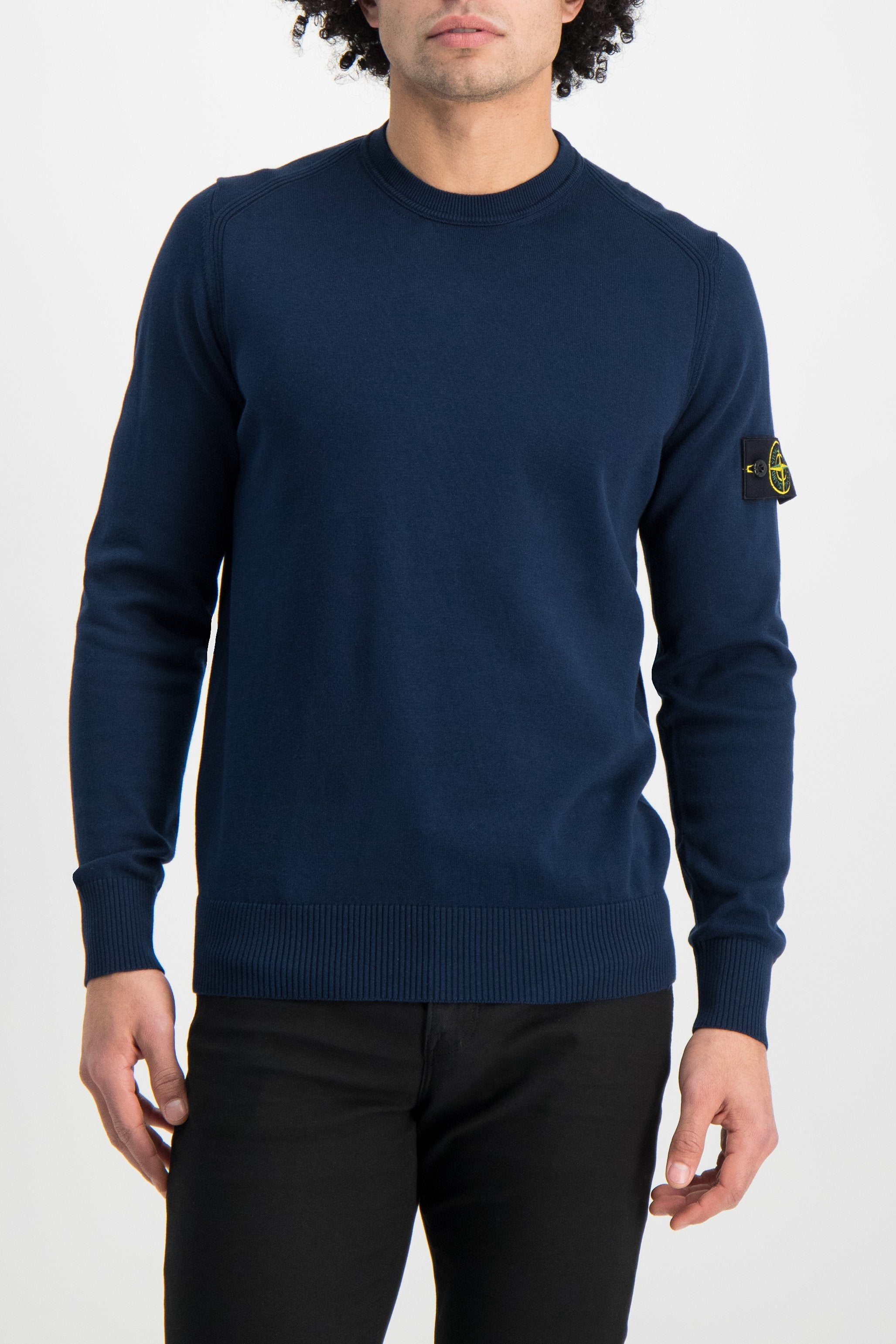 Front Crop Image Of Model Wearing Stone Island Long Sleeve Knit Blue Marine
